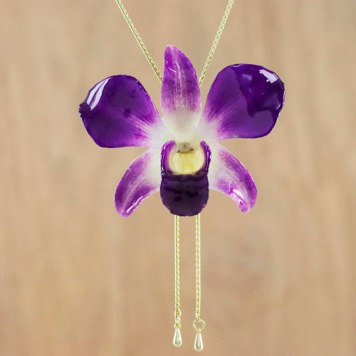 Genuine Purple Orchid Resin Pendant Necklace with Gold Chain 'Orchid Majesty'