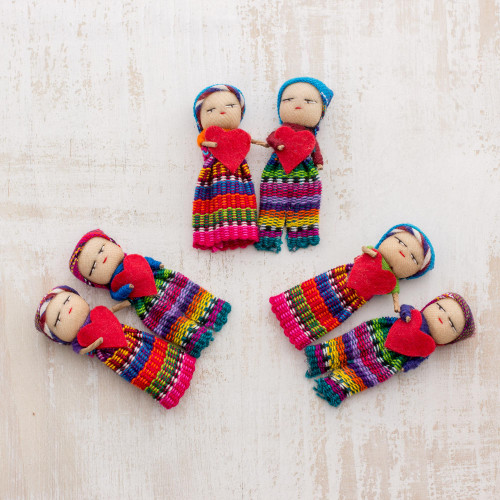 Worry Dolls with 100 Cotton Pouch from Guatemala Set of 6 'Joined in Love'