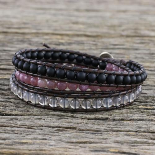 Unisex Leather and Multi-Gemstone Beaded Wrap Bracelet 'Sunrise Wanderlust'