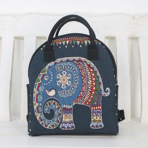 Multi-Colored Thai Elephant Cotton Backpack Handbag 'Northern Elephant'