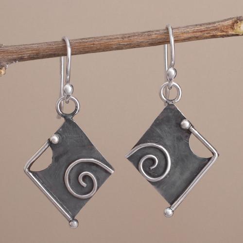 Peruvian Modern Style Sterling Silver Dangle Earrings 'Freeform Beauty'