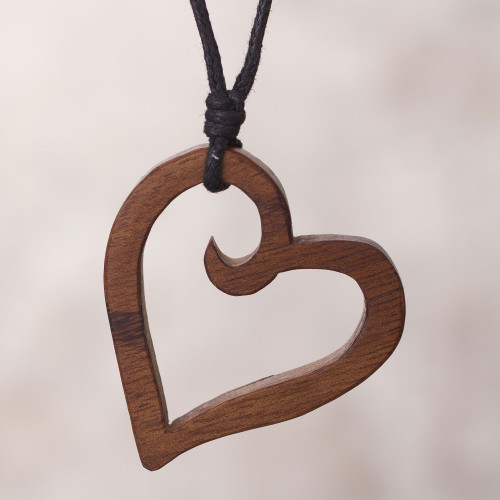 Peruvian Reclaimed Wood Pendant Necklace with Heart Shape 'The Beat of Nature's Heart'