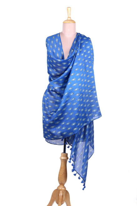 Blue Cotton and Silk Blend Floating Leaf Block Print Shawl 'Floating Leaves'