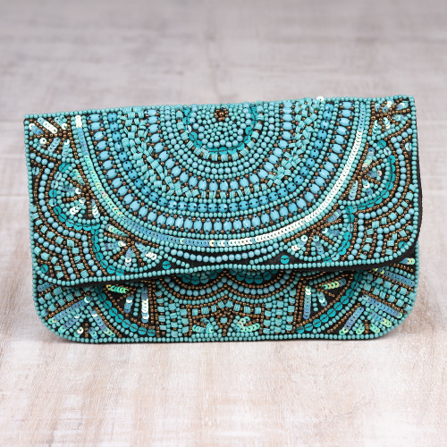 Turquoise Beaded and Sequined Silk Evening Clutch from India 'Turquoise Glamour'