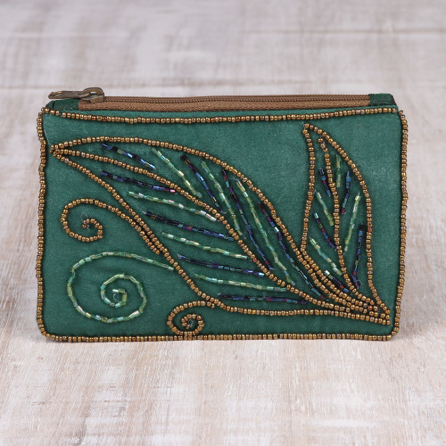Pine Green Cotton and Silk Clutch with Leaf Motif Beading 'Enchanting'