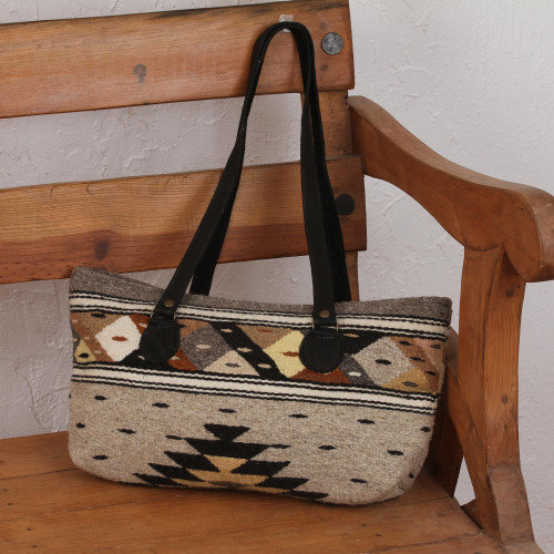 Earth-Tone Zapotec Wool Shoulder Bag from Mexico 'Earth Geometry'