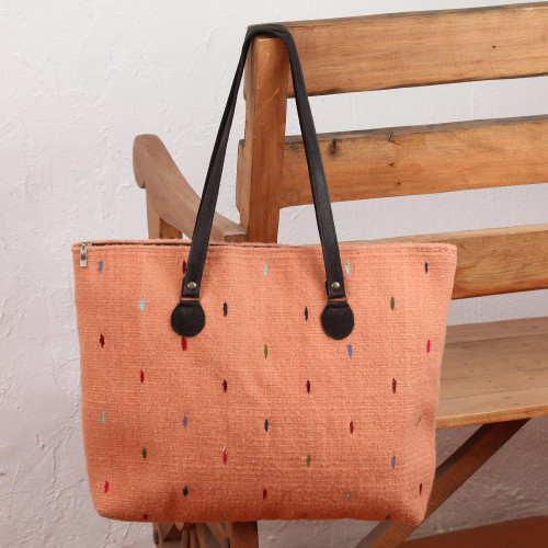 Handwoven Wool Tote in Peach from Mexico 'Peachy Rainbow'