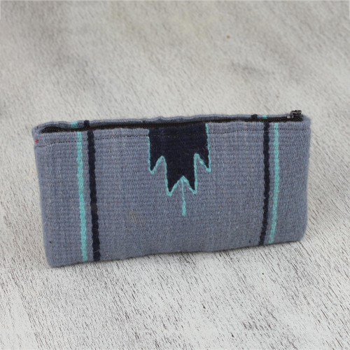 Handwoven Zapotec Wool Coin Purse in Blue from Mexico 'Blue Mountains'