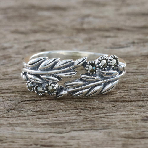 Sterling Silver Luminous Garden Marcasite Pave Ring 'Luminous Garden'