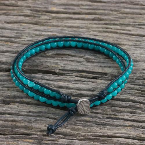 Karen Silver Leaf Aqua Blue Quartz Beaded Wrap Bracelet 'Sea Window'