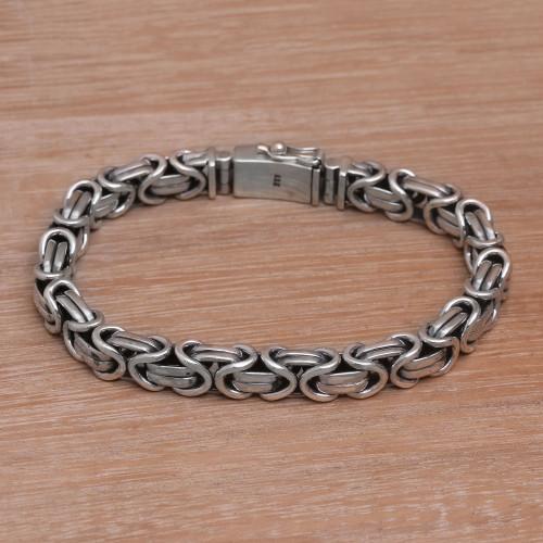 Men's Sterling Silver Byzantine Chain Bracelet from Bali 'Masculine Path'