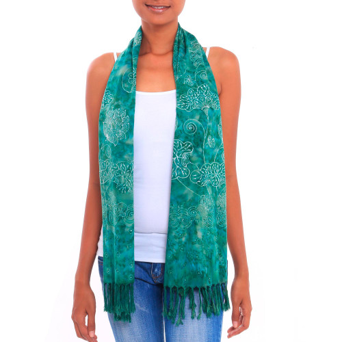 Jade Green Floral Motif Batik Rayon Scarf with Fringe 'Beautiful Lagoon'