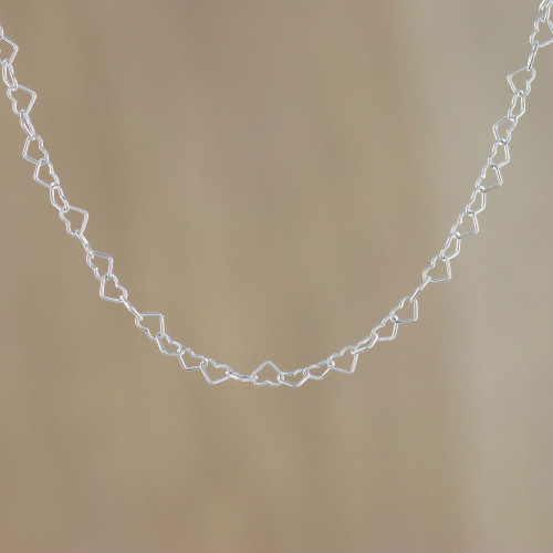 Sterling Silver Heart Link Necklace 3mm from Thailand 'Lots of Love'