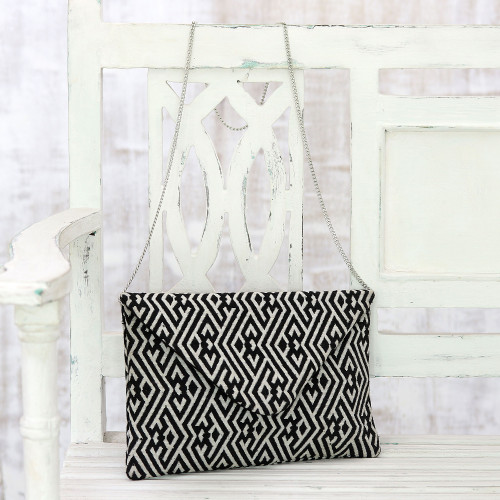 Black and White Cotton Convertible ClutchShoulder Bag 'Directional Style'