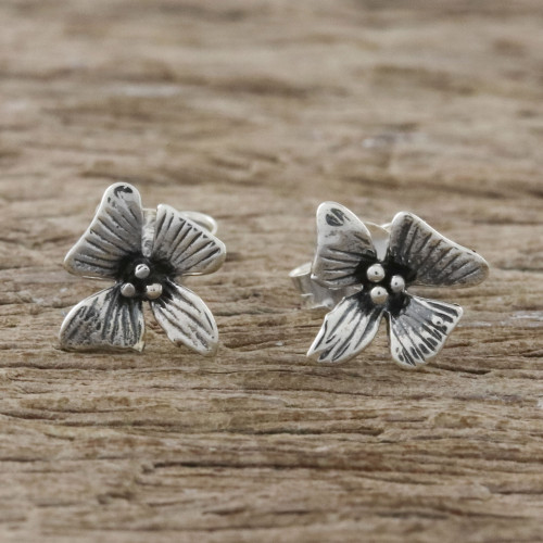 Handcrafted Sterling Silver Floral Stud Earrings 'Silver Blossoms'