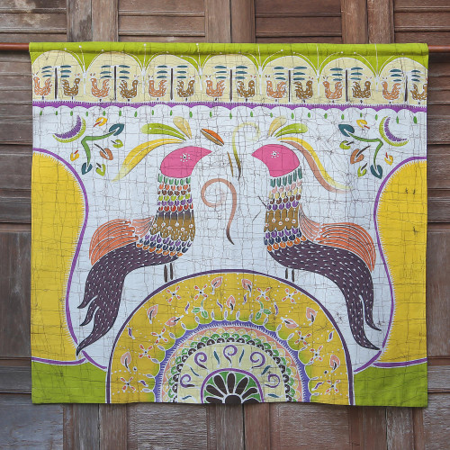 Cotton Batik Wall Hanging of Two Chickens from Thailand 'Amorous Chickens'