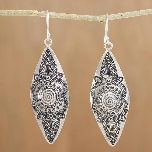 Hand-Stamped Karen Silver Dangle Earrings from Thailand 'Mesmerizing Karen'