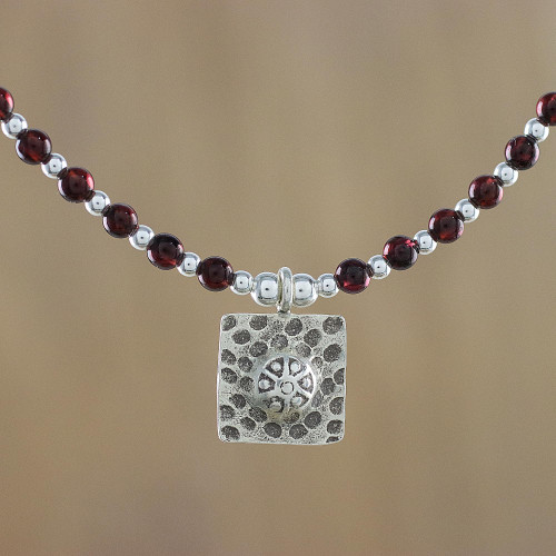 Garnet Beaded Pendant Necklace from Thailand 'Auburn Karen'