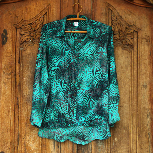 Rayon Batik Long Sleeve Green-Blue Hi-Low Button Blouse 'Green Glyphs'
