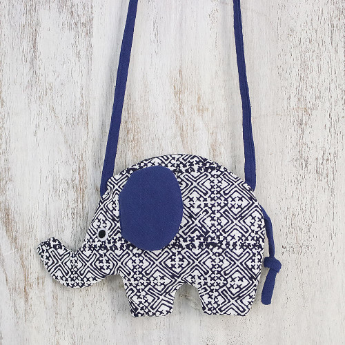 Handmade Elephant Shaped Cotton Sling in Blue from Thailand 'Energetic Elephant'