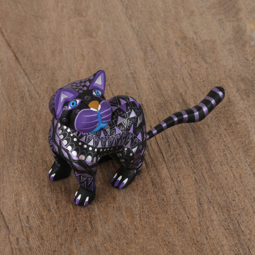 Black Alebrije Cat Silver and Purple Hand Painted Motifs 'Sophisticated Cat'