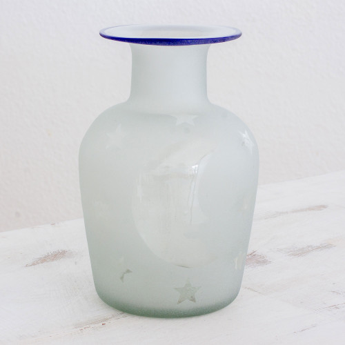 Clear Frosted Moon and Stars Hand Blown Recycled Glass Vase 'Misty Night'