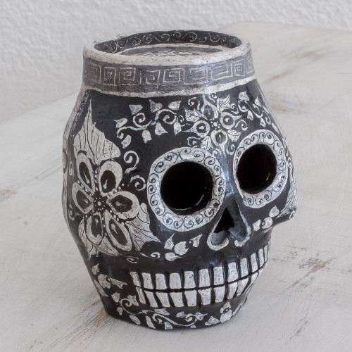 Hand-Painted Ceramic Skull Statuette from Guatemala 'Sides of Life'