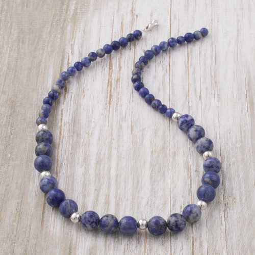 Handcrafted Sodalite and Sterling Silver Bead Necklace 'Falling Water'