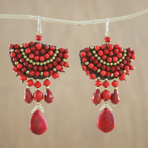 Red Calcite Glass Bead Fan-Shaped Dangle Earrings 'Joyful Fire'