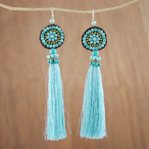 Long Tassel Blue Calcite and Glass Bead Dangle Earrings 'Dance With Me in Blue'
