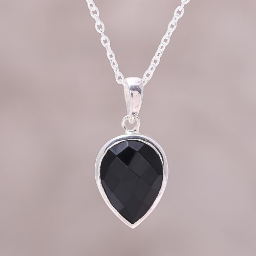 Sterling Silver Black Onyx Midnight Drop Pendant Necklace 'Midnight Drop'
