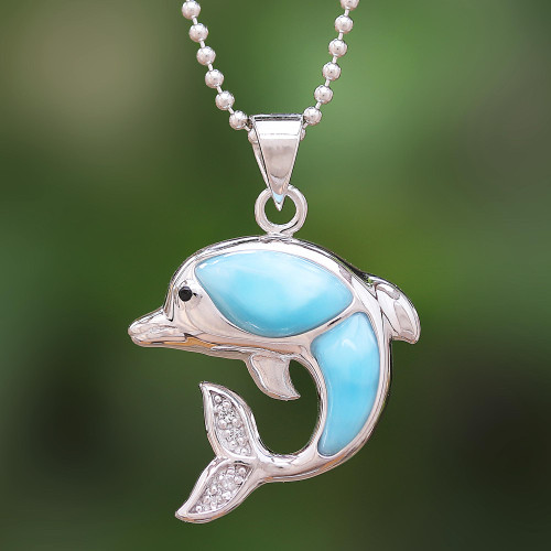 Larimar and Sterling Silver Leaping Dolphin Pendant Necklace 'Dolphin Leap'