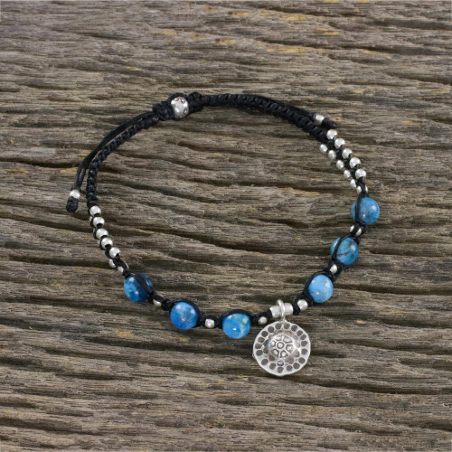 Apatite and Hill Tribe Silver Bead Textured Charm Bracelet 'Brilliant Sky'