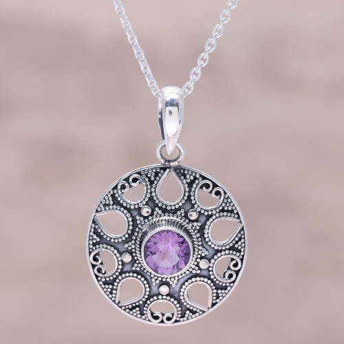 Amethyst and Sterling Silver Medallion Pendant Necklace 'Lilac Fountain'