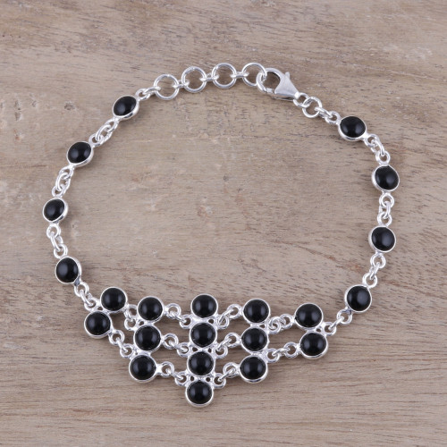 Sterling Silver and Black Onyx Midnight Orbs Link Bracelet 'Midnight Orbs'