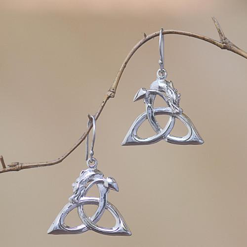 Bali Sterling Silver Celtic Trinity Knot Dragon Earrings 'Dragon Knot'