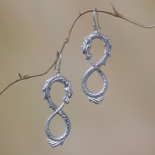 Artisan Crafted Sterling Silver Dragon Dangle Earrings 'Infinite Dragon'