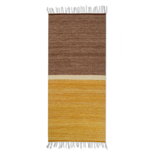 Hand Woven Brown Wool Area Rug from Mexico 2.5x5 'Welcome Guest'
