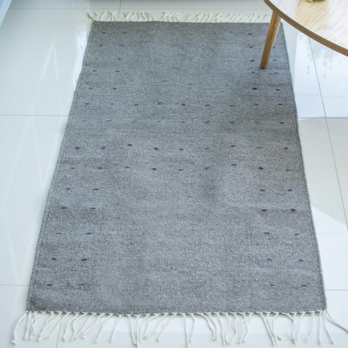 Hand Woven Wool Area Rug from Mexico 2.5x5 'Welcome In'