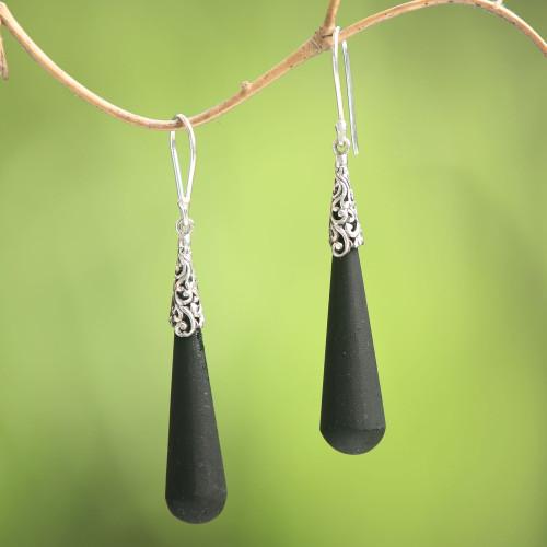 Sterling Silver Lava Stone Midnight Drops Dangle Earrings 'Midnight Drops'