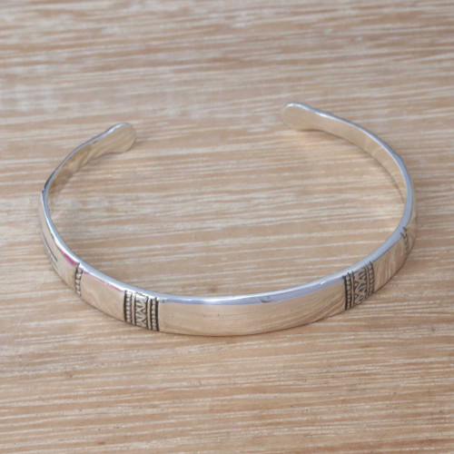 Artisan Crafted Sterling Silver Cuff Bracelet from Bali 'Honorable Gleam'
