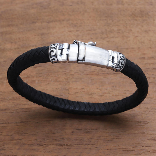 Black Leather Wristband Bracelet Crafted in Bali 'Serene Weave in Black'