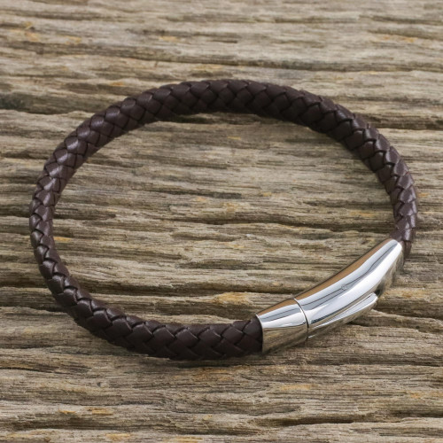 Leather Braided Wristband Bracelet in Brown from Thailand 'Simple Life in Brown'
