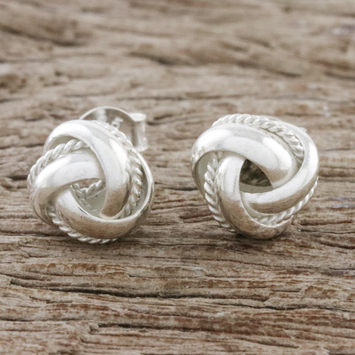 Knot Motif Sterling Silver Stud Earrings from Thailand 'Sweet Knots'