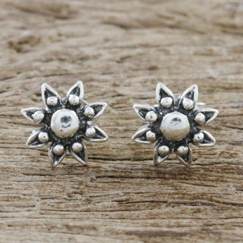 Floral Sterling Silver Stud Earrings from Thailand 'Flower Gleam'