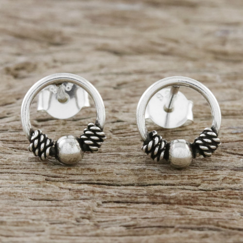 Artisan Crafted Circular Sterling Silver Stud Earrings 'Champion Rope'