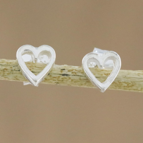 High-Polish Sterling Silver Heart Stud Earrings 'Take My Heart'