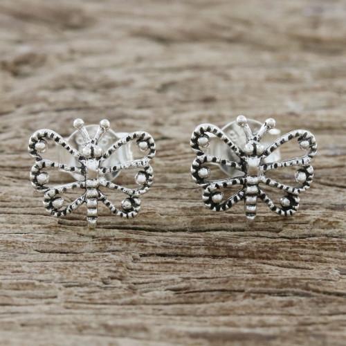 Openwork Butterfly Sterling Silver Stud Earrings 'Dotted Butterflies'