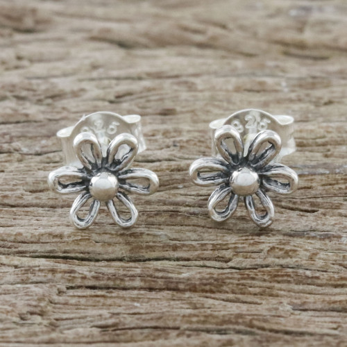 Floral Motif Sterling Silver Stud Earrings from Thailand 'Flower Fancy'