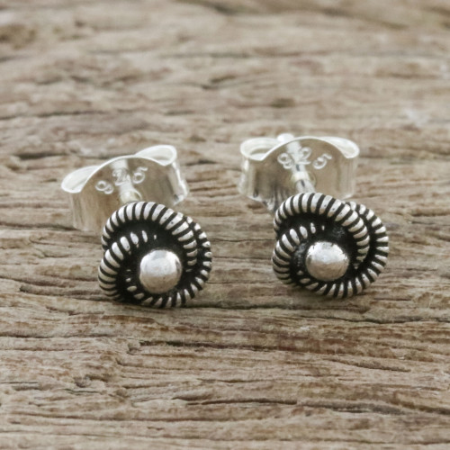Spiral Motif Sterling Silver Stud Earrings from Thailand 'Rope Cyclones'
